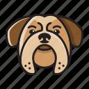 buldog, cartoon, cute, dog, head, set icon
