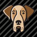 cartoon, cute, dane, dog, great, head icon