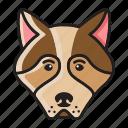 cartoon, cute, dog, head, husky, set