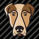 cartoon, cute, dog, head, mastiff, set icon