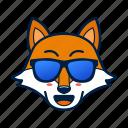 animal, cool, cute, emoji, fox, wild