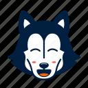 animal, cute, dog, emoji, husky, kawaii, pet, smile icon