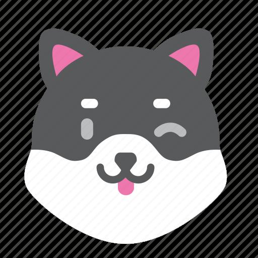 cute, dog, husky, japan, smile, winter icon