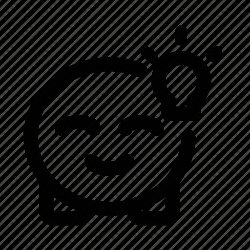 cute, emoji, idea, light bulb icon