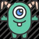 bent, horns, monster, cartoon, character