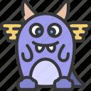 bunny, looking, monster, cartoon, character