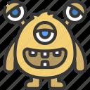 egg, long, eye, monster, cartoon, character