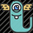 flying, slug, monster, cartoon, character