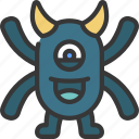 four, arms, horn, monster, cartoon, character