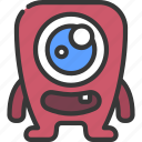 large, eye, square, monster, cartoon, character