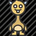 long, neck, monster, cartoon, character