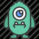 one, eye, rectangle, monster, cartoon, character