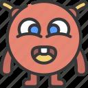 round, antenna, monster, cartoon, character