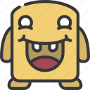 square, big, mouth, monster, cartoon, character