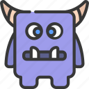 square, horn, monster, cartoon, character