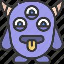three, eyes, horns, monster, cartoon, character