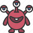 three, eyes, monster, cartoon, character, creature, alien
