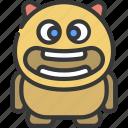 wide, face, monster, cartoon, character