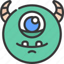 big, eye, circle, monster, cartoon, character, alien