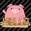 animals, cute, farm, hello, mud, pig icon
