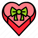 box, gift, heart, present, valentine icon