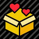 box, gift, love, parcel, present, valentine icon