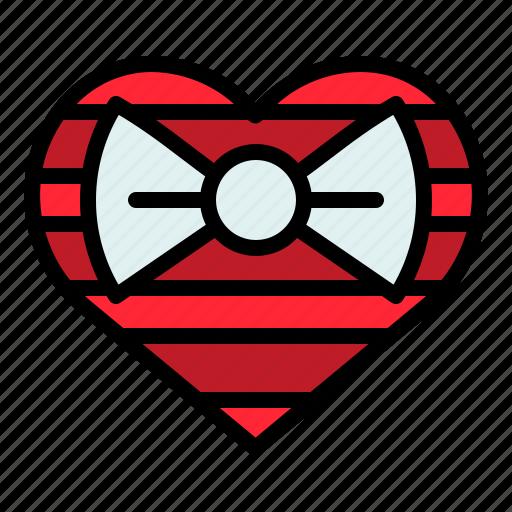 box, gift, heart, present, valentine icon