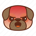 angry, animal, cute, dog, emoji, emoticon, pet, pug icon