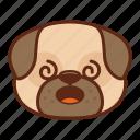 animal, confuse, cute, dog, emoji, emoticon, pet, pug icon