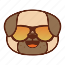 animal, cool, cute, dog, emoji, emoticon, pet, pug icon