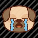 animal, cry, cute, dog, emoji, emoticon, pet, pug icon
