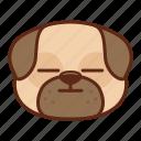 animal, cute, dog, emoji, emoticon, face, pet, pug icon