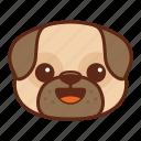 animal, cute, dog, emoji, emoticon, happy, pet, pug icon