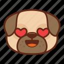 animal, cute, dog, emoji, emoticon, love, pet, pug icon