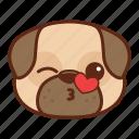 animal, cute, dog, emoji, emoticon, kiss, pet, pug icon