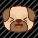 animal, cute, dog, emoji, emoticon, laugh, pet, pug icon