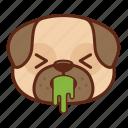 animal, cute, dog, emoji, emoticon, pet, pug, puke icon