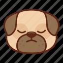 animal, cute, dog, emoji, emoticon, pet, pug, sad icon