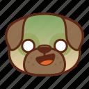 animal, cute, dog, emoji, emoticon, pet, pug, shocked icon