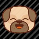 animal, cute, dog, emoji, emoticon, pet, pug, smile icon