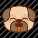 animal, cute, dog, emoji, emoticon, pet, pug, tongue icon