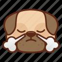animal, cute, dog, emoji, emoticon, pet, pug, triumph icon
