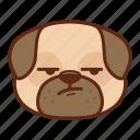 animal, cute, dog, emoji, emoticon, pet, pug, whew icon
