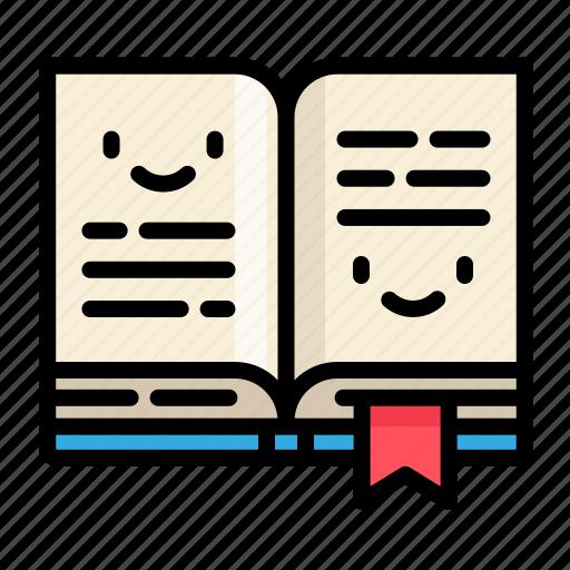book, cute, education, school icon