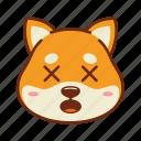 animal, depressed, dog, emoji, kawaii, pet, shiba