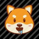 animal, dog, drool, emoji, kawaii, pet, shiba