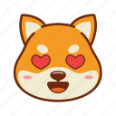 animal, dog, emoji, kawaii, love, pet, shiba