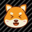 animal, dog, emoji, kawaii, laugh, pet, shiba