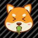 animal, dog, emoji, kawaii, pet, puke, shiba