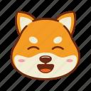 animal, dog, emoji, kawaii, pet, shiba, smile icon